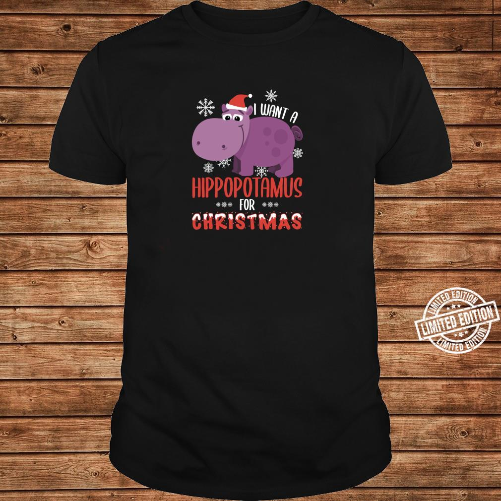 I Want Hippopotamus For Christmas Xmas Hippo Shirt ladies tee