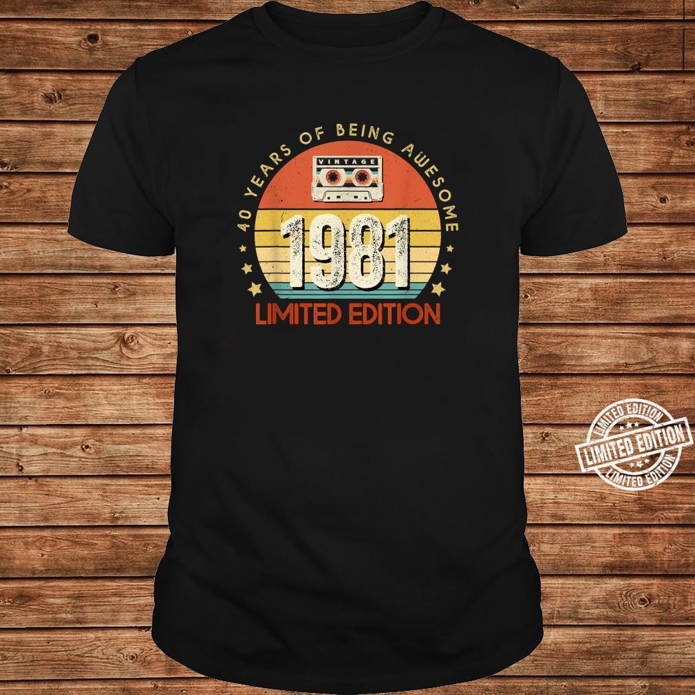 Jahrgang 40.Geburstag Vintage made in 1981 Cassette Shirt long sleeved