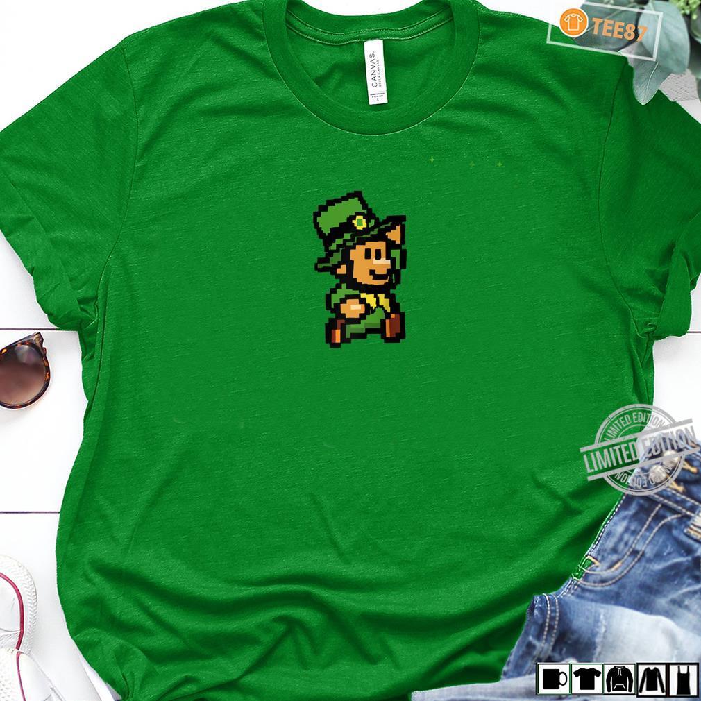 Super Leprechaun bro 8bit leprechaun video game Shirt long sleeved
